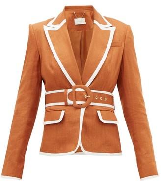 Zimmermann Super Eight Belted Linen Blazer - Womens - Light Brown