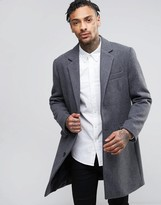 Asos Wool Mix Overcoat In Light Gray