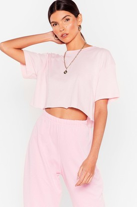 Nasty Gal Womens Nice 'N Easy Oversized Cropped Tee - Pink