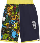 A Bathing Ape Island print cotton shorts 4-8 years