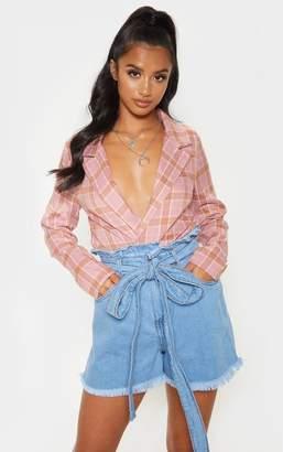PrettyLittleThing Petite Light Wash Paper Bag Tie Waist Denim Shorts