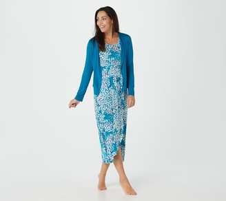 Carole Hochman Petite Abstract Hydrangea Rayon Span Maxi Dress Set