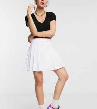 Collusion pleated tennis mini skirt in white