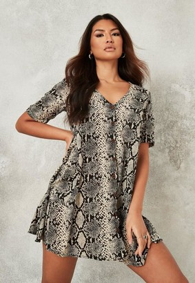 Missguided Gray Snake Print Button Down Smock Dress