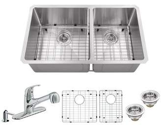 Soleil Radius 16 Gauge Stainless Steel 32'' x 19'' 60/40 Double Bowl Undermount Kitchen Sink with Faucet and Soap Dispenser Soleil Faucet Finish: Polished Ch