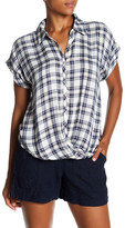 Lily White Twist Front Plaid Hi-Lo Shirt