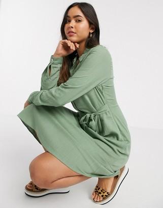 Vila midi shirt dress with linen mix in green