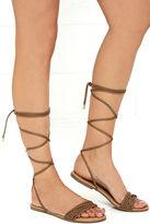 Qupid Braid-iac Camel Flat Lace-Up Sandals