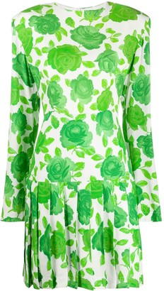 Rowen Rose Pleated Floral Print Dress