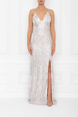 Honor Gold Gia Silver Sequin Backless Maxi Dress With Split