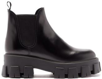 Prada Tread-sole Leather Chelsea Boots - Black