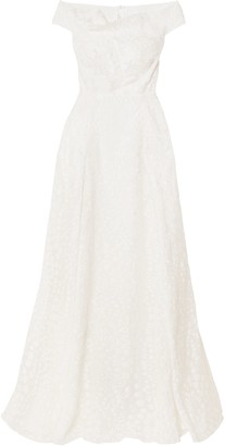 Roland Mouret Gildin Off-the-shoulder Pleated Fil Coupe Organza Gown