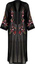 River Island Womens Black sheer floral embroidered kimono
