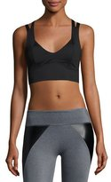 Lanston Leto Contrast Performance Sports Bra, Gray/Black