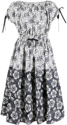 Moncler Floral-Print Panelled Dress