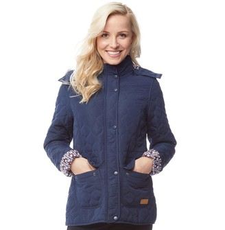 Trespass Womens Jenna Quilted Hooded Jacket Navy