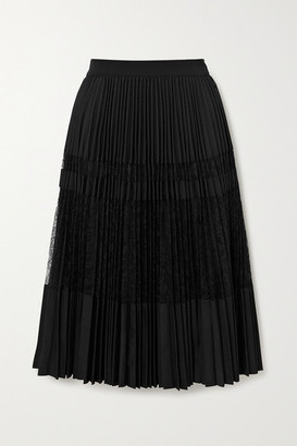 By Malene Birger Dax Pleated Lace Midi Skirt - Black