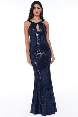 Goddiva Halter Maxi Fishtail Sequin Dress