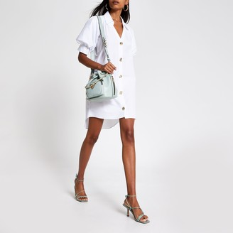 River Island Womens White short puff sleeve mini shirt dress