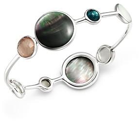 Ippolita Sterling Silver Wonderland Moroccan Dusk Mother-of-Pearl, Clear Quartz & Black Shell Bangle Bracelet