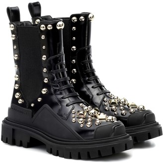 Dolce & Gabbana Studded leather ankle boots