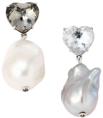 Tory Burch Crystal Heart & Faux-Pearl Mismatched Drop Earrings