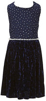 Xtraordinary Little Girls 4-6X Glitter Lace Velvet Fit-And-Flare Dress