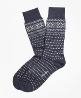 Brooks Brothers Merino Wool Snowflake Fair Isle Crew Socks