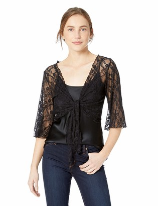 Star Vixen Women's 3/4 Sleeve Stretch Lace Tiefront Shrug Sweater