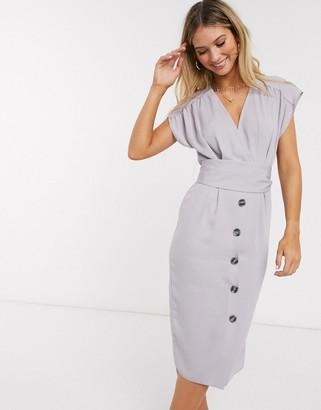 ASOS DESIGN obi belt button through sleeveless midi dress in gray