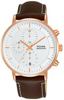 Pulsar Men's PM3082 Leather Strap Dress Chronograph Wrist Watch