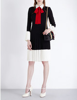 Gucci Pussybow pleated silk-crepe dress