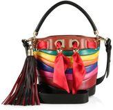 Salvatore Ferragamo By Sara Battaglia Multicolor Stripe Leather Bucket Bag