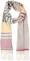 Salvatore Ferragamo Linen & Silk Striped Scarf