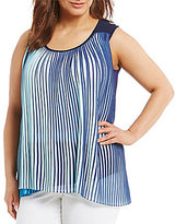 French Blue Plus Sleeveless Top w/Contrast Pleats