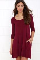 LuLu*s Twirl Power Wine Red Swing Dress