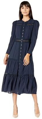 La Vie Rebecca Taylor Long Sleeve Ribbon Dress (Midnight Navy) Women's Clothing