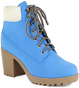 Light Blue Lace-Up Ankle Boot