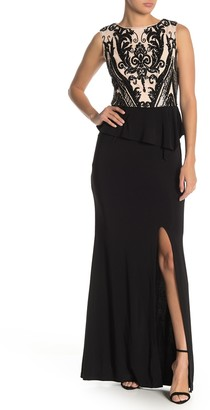 Onyx Nite Sequin Bodice Peplum Gown