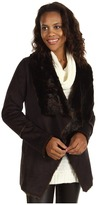 MICHAEL Michael Kors Faux Mink Shearling Drape Neck Coat (Chocolate) - Apparel
