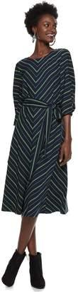 Nine West Petite Mitered Belted Dress