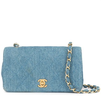 Chanel Pre Owned Chain Shoulder Bag Denim 85-93's