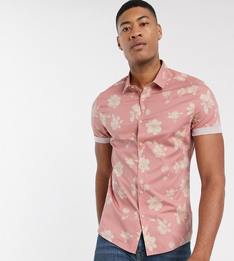 Asos Design DESIGN Tall slim floral shirt in dusty pink