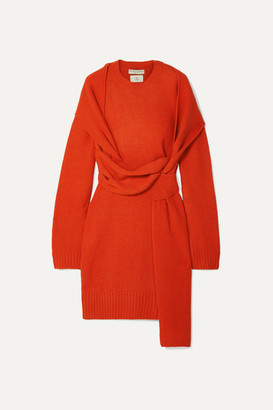 Bottega Veneta Belted Wool Dress - Orange