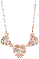 White & Rose Gold Tri-Heart Necklace With Swarovski® Crystals