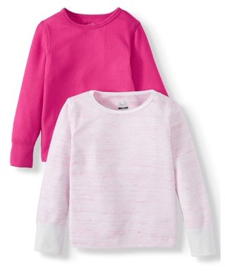 Fruit of the Loom Toddler Girls Thermal, 2 Pack Core Mini Waffle Super Soft Tops