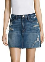 Frame Le Distressed Denim Mini Skirt