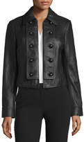 Diane von Furstenberg Sergeant Leather Military Jacket, black