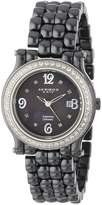 Akribos XXIV Women's AK504BK Ceramic with Diamond Accents and Fully Ceramic Bracelet Watch