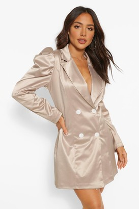 boohoo Satin Puff Sleeve Button Blazer Dress